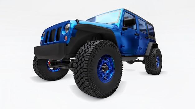 Potente suv sintonizado en azul para expediciones en montañas, pantanos, desierto y cualquier terreno accidentado en blanco. ruedas grandes, suspensión de elevación para obstáculos empinados. ilustración 3d sobre fondo blanco