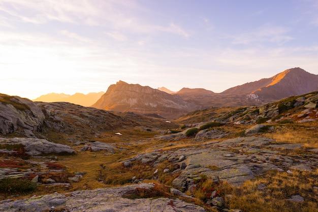 Pradera alpina y pastos en medio de la cordillera de gran altitud al atardecer