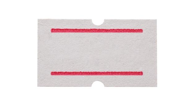 Precio de etiqueta de papel blanco aislado sobre fondo blanco.