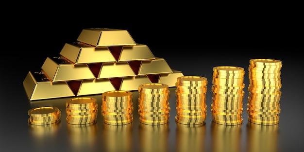 Precio del oro para el banner del sitio web. representación 3d de lingotes de oro.