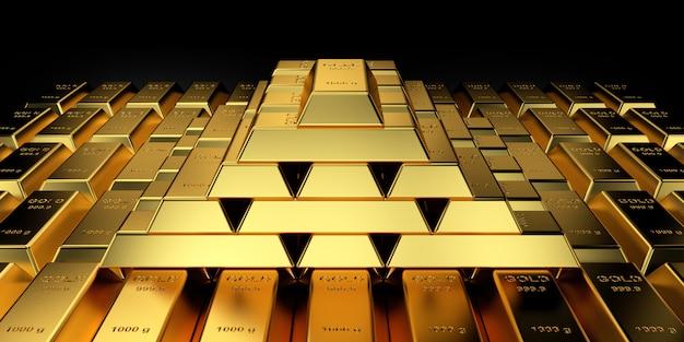 Precio del oro para el sitio web. representación 3d de lingotes de oro.
