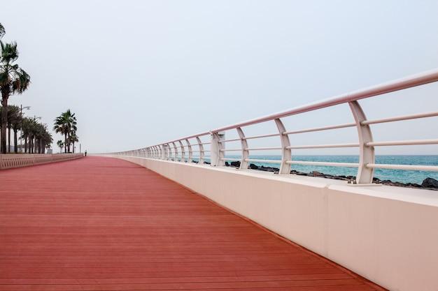 Precioso paseo marítimo con pasarela y valla blanca.