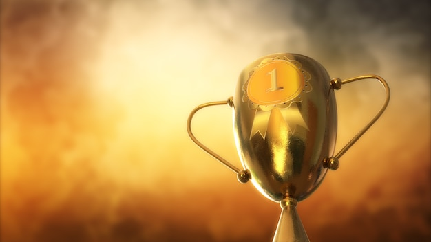 Premio de ilustración 3d, trofeo aislado sobre fondo naranja
