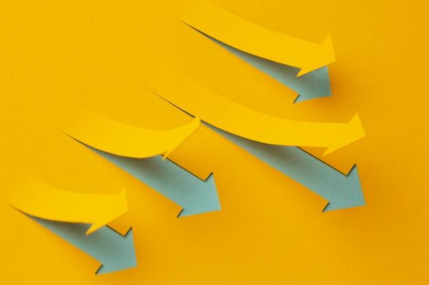 Presentación de estadísticas de alto ángulo de crecimiento con flechas