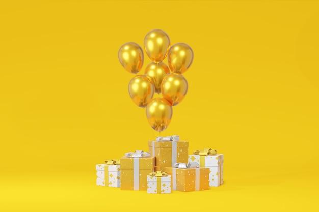Presentación festiva caja regalo globo fondo amarillo
