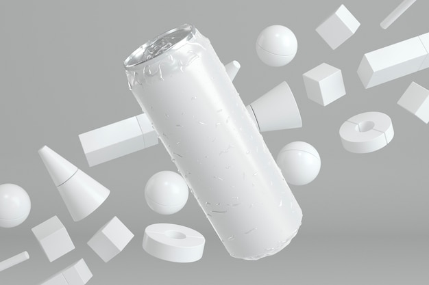 Presentación de latas de aluminio abstracto