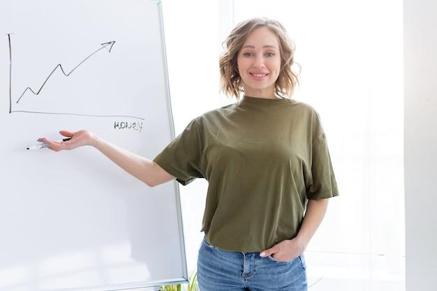 Presentación, webinar, reunión. mujer de negocios joven habla a la audiencia