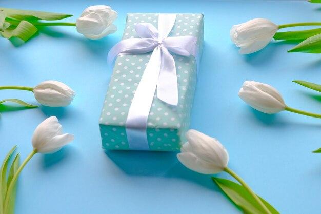 Presente y flores tulipanes blancos sobre superficie azul