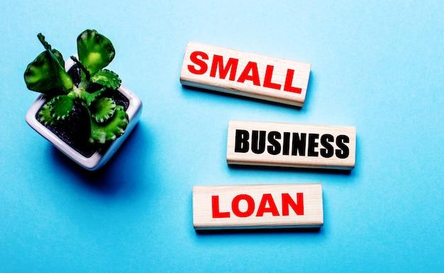 Préstamo para pequeñas empresas está escrito sobre bloques de madera sobre un fondo azul claro cerca de una flor en una maceta