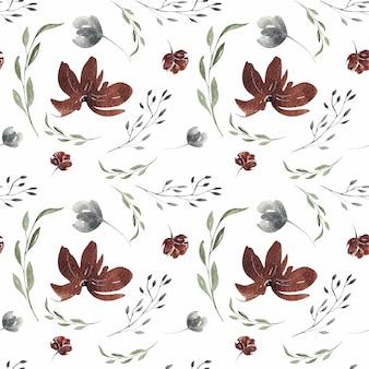 Primavera acuarela flor borgoña flores de patrones sin fisuras
