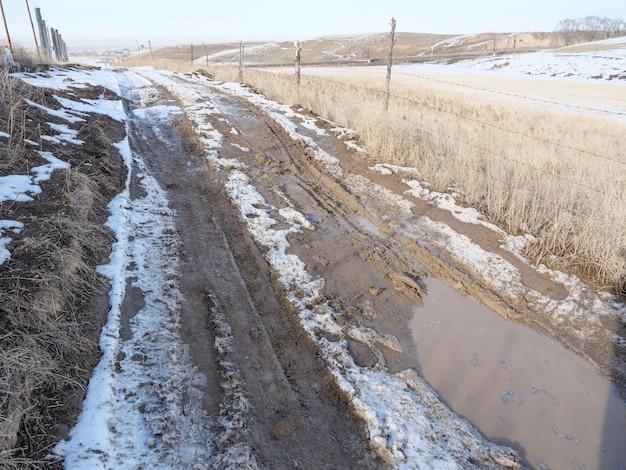 Primavera derritiendo nieve, camino de tierra, charcos y barro. fango.