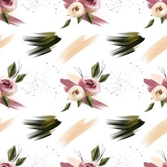 Primavera flor rosa y coral flores y manchas de patrones sin fisuras