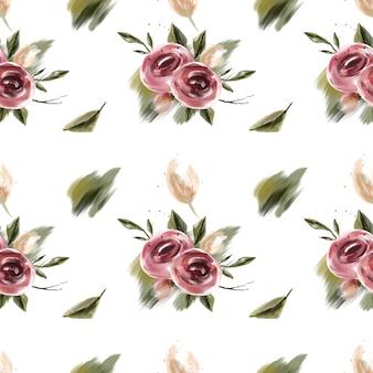 Primavera flor rosa y melocotón y coral flores de patrones sin fisuras