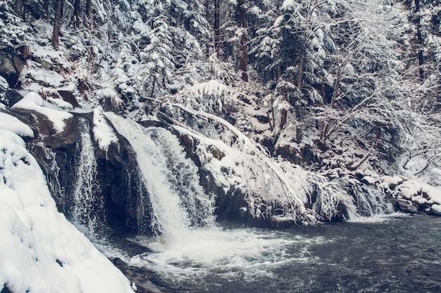 La primavera de invierno alimenta las cascadas del arroyo en el invierno