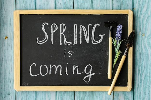 La primavera está llegando. fondo de composición de primavera, papel tapiz. equipo de siembra, preparación. herramientas y flores. foto de alta calidad