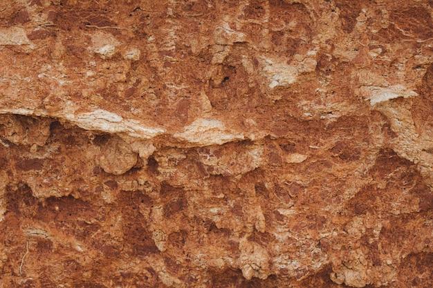 Primer disparo de los bordes de un acantilado marrón. textura de fondo
