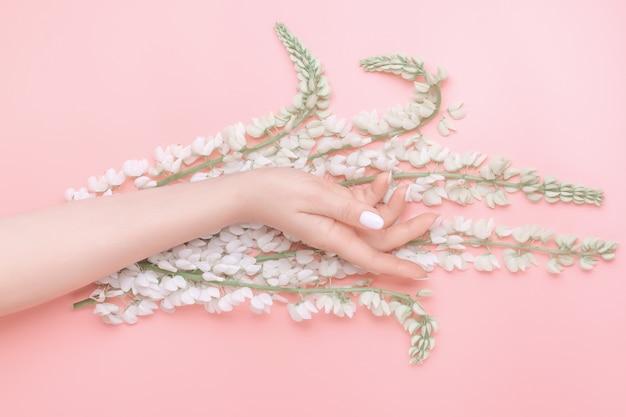 Primer mano femenina sofisticada hermosa con flores blancas sobre fondo rosa. concepto de cuidado de la piel, antiarrugas, crema antienvejecimiento, spa.