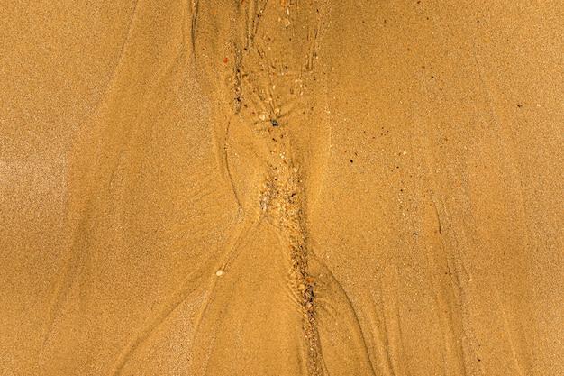 Primer plano de arena con formas de marea y conchas en la playa de textura de fondo de fotograma completo