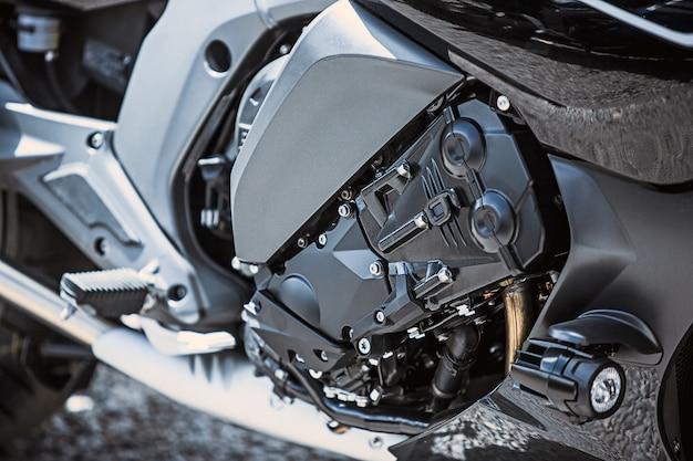 Primer plano de artículos de lujo para motocicletas: piezas de motocicletas