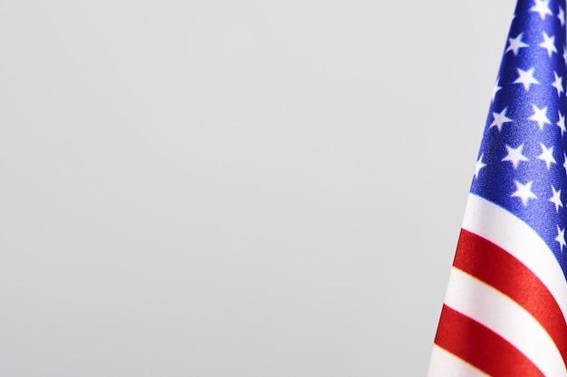 Primer plano de la bandera americana con copyspace