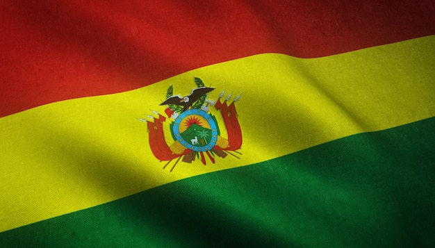 Primer plano de la bandera de bolivia con interesantes texturas