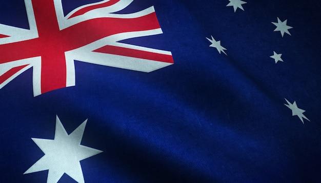 Primer plano de la bandera ondeante de australia con texturas interesantes