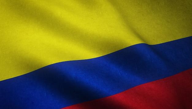 Primer plano de una bandera ondeante de colombia con texturas grungy