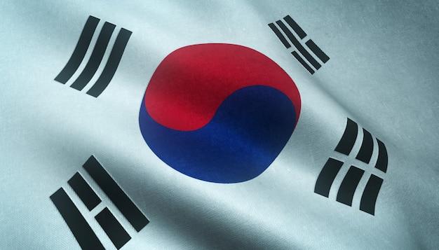 Primer plano de la bandera ondeante de corea del sur