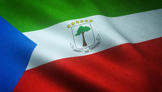 Primer plano de la bandera ondeante de guinea ecuatorial con texturas interesantes