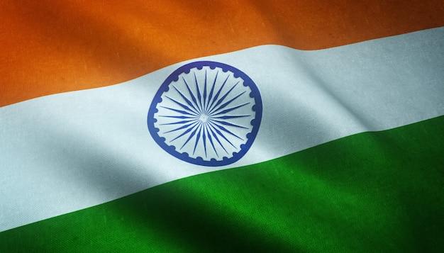 Primer plano de la bandera ondeante de la india con texturas interesantes