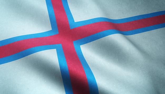 Primer plano de la bandera ondeante de las islas feroe con texturas interesantes