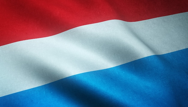 Primer plano de la bandera ondeante de luxemburgo con texturas interesantes