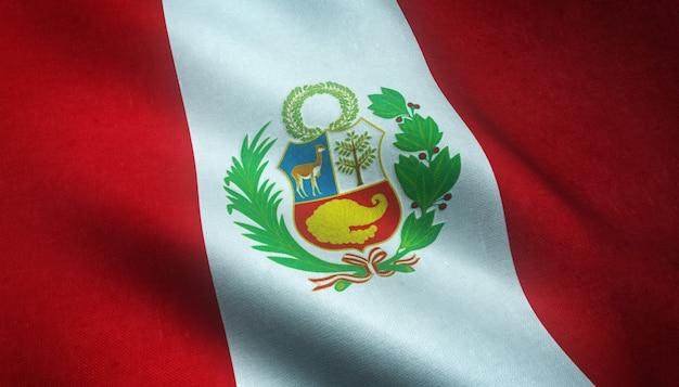 Primer plano de la bandera ondeante de perú con texturas interesantes