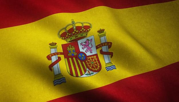 Primer plano de la bandera ondeante realista de españa