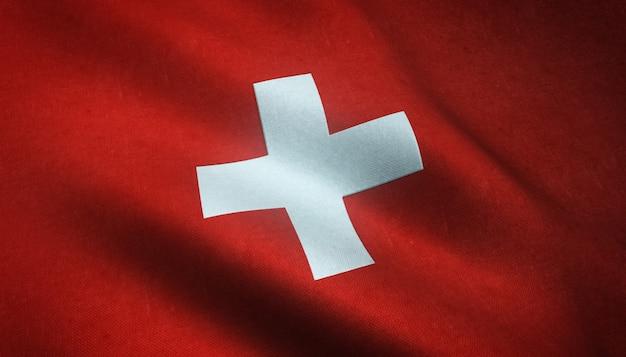 Primer plano de la bandera ondeante de suiza con texturas interesantes
