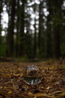 Primer plano de una bola de cristal en el suelo de hojas amarillas secas en un bosque