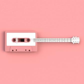 Primer plano de casete de cinta de audio vintage con guitarra acústica