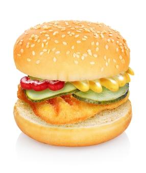 Primer plano de la clásica hamburguesa con queso