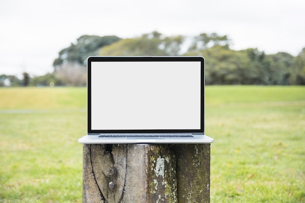 Primer plano de la computadora portátil en el poste de madera en el parque