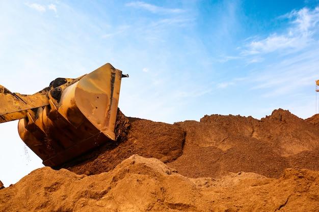 Primer plano, construcción, sitio, excavador