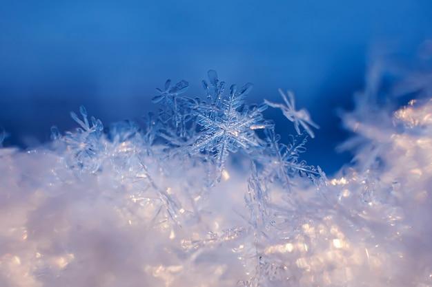 Primer plano de copos de nieve. fondo macro foto, tema de invierno