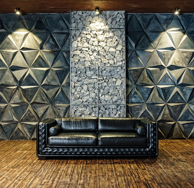 Primer plano de cuero sofá negro. muebles de lujo