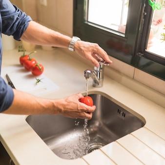 Primer plano de la limpieza del hombre tomate rojo en el fregadero