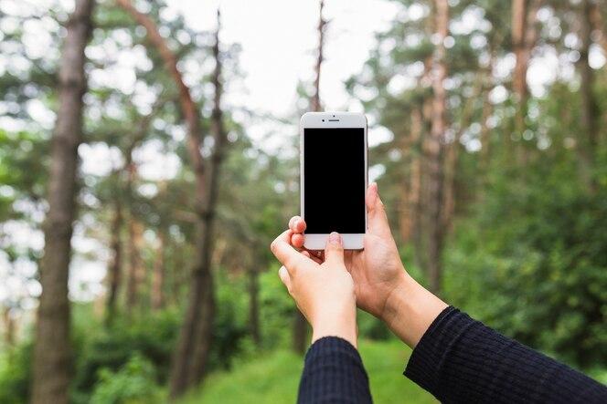 Primer plano de la mano que sostiene el teléfono móvil en el bosque