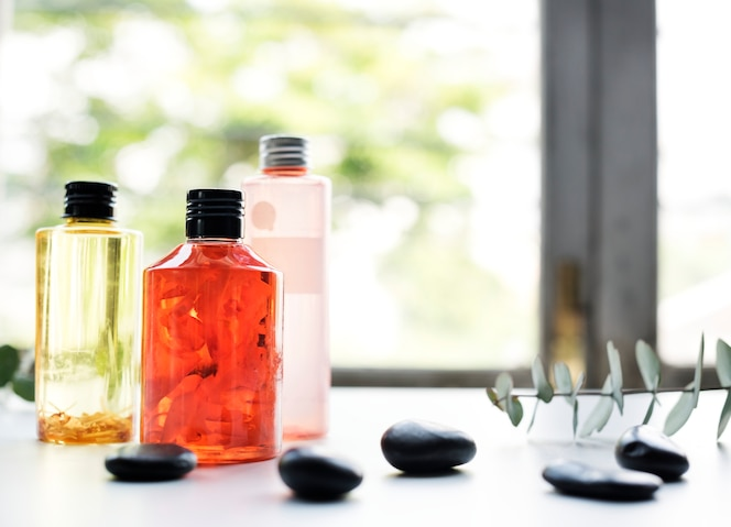 Primer plano de spa y productos de belleza