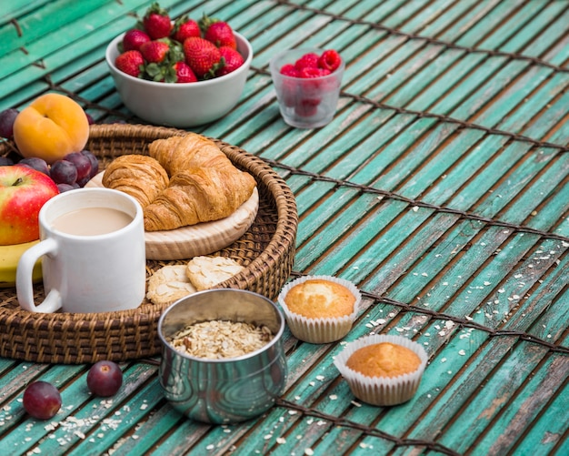 Primer plano de delicioso desayuno saludable