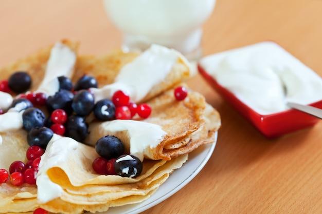 Primer plano de deliciosos panqueques dulces
