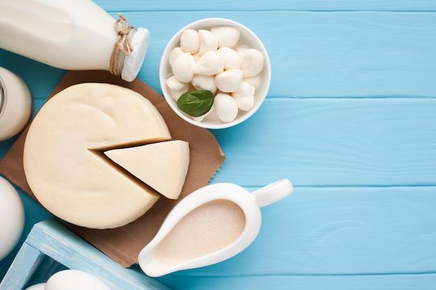 Primer plano de deliciosos productos lácteos
