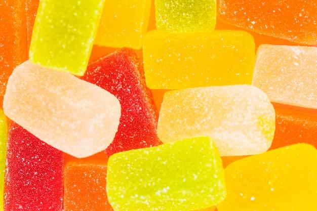 Primer plano de dulces caramelos de gelatina