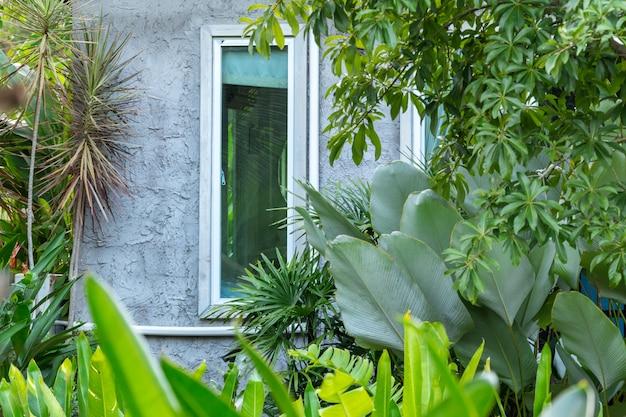 Primer plano de estilo loft de casa en jardín verde